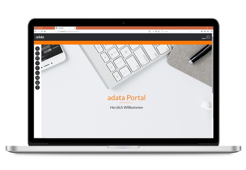 adata-Screen-Zeiterfassung-Willkommen